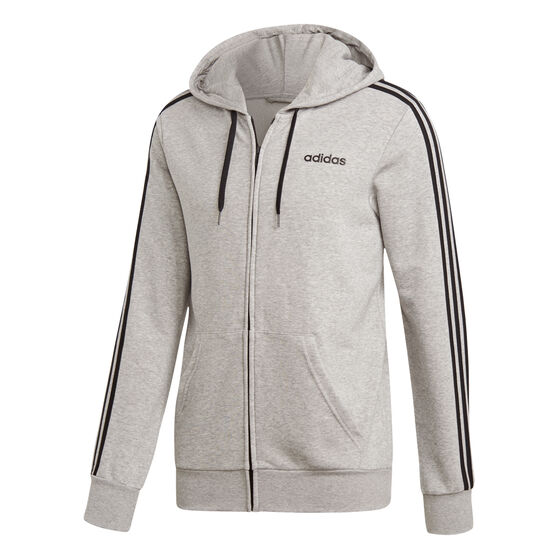 adidas Mens Essentials 3-Stripes Full Zip French Terry Hoodie, Grey, rebel_hi-res