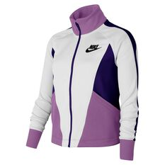 Nike Girls Sportswear Heritage Jacket White / Purple XS, White / Purple, rebel_hi-res