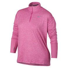 Nike Womens Element Half Zip Running Top Plus Fuschia XL, Fuschia, rebel_hi-res