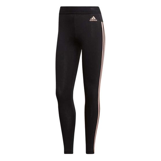 adidas Womens Essentials 3 Stripes Tights Black / Coral S, Black / Coral, rebel_hi-res