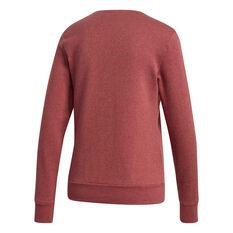 adidas Womens Essentials 3 Stripes Fleece Sweatshirt, Red, rebel_hi-res