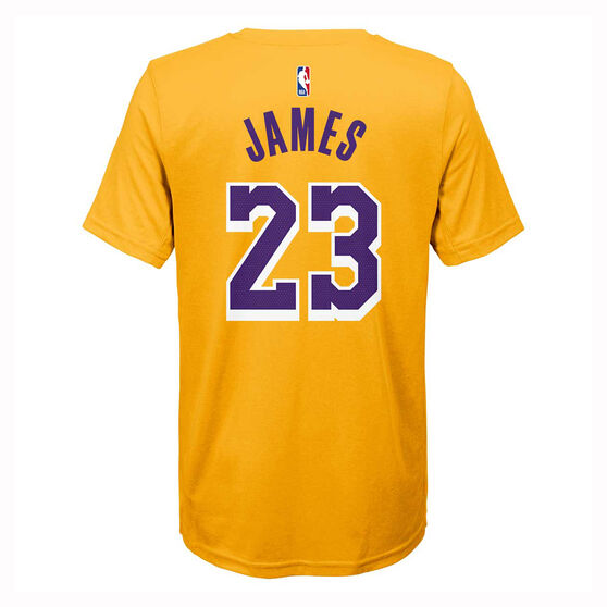 Nike Los Angeles Lakers LeBron James 2019/20 Kids Icon Tee, Yellow, rebel_hi-res