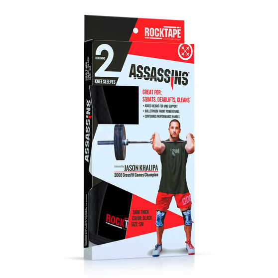RockTape Assassin Knee Sleeves, Black, rebel_hi-res