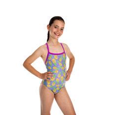Speedo Girls Thinstrap Muscleback One Piece Swimsuit Multi 6, Multi, rebel_hi-res
