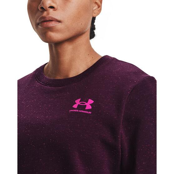 Under Armour Womens Rival Fleece LC Crew Sweater, Purple, rebel_hi-res