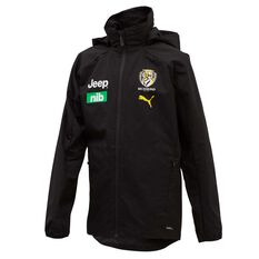 Richmond Tigers Mens Team Rain Jacket Black S, Black, rebel_hi-res