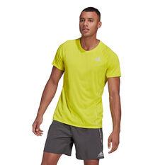 adidas Mens Runner Tee Yellow S, Yellow, rebel_hi-res