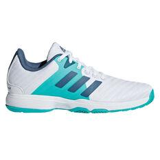 adidas Barricade Court Womens Tennis Shoes White / Blue US 7.5, White / Blue, rebel_hi-res