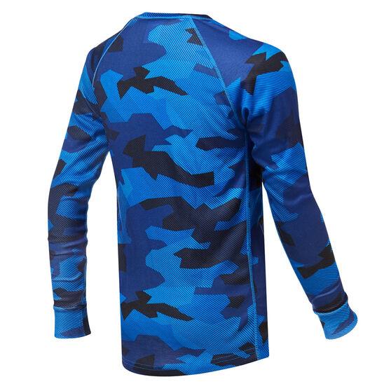 Tahwalhi Boys Peak Printed Thermal LS Ski Top, Blue, rebel_hi-res