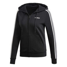 adidas Womens Essentials 3 Stripes Fleece Hoodie Black XS, Black, rebel_hi-res