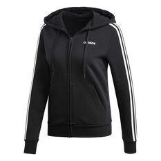 adidas Womens Essentials 3 Stripes Fleece Hoodie Black XS, Black, rebel_hi-res