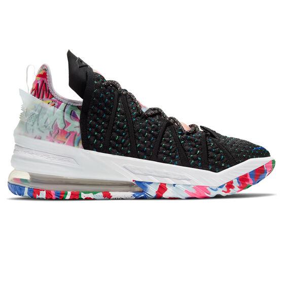 Nike LeBron XVIII Mens Basketball Shoes Black/White US 9, Black/White, rebel_hi-res