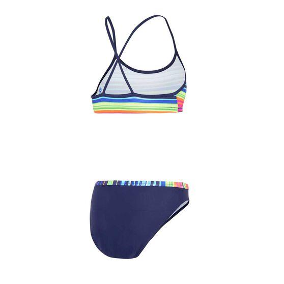 Zoggs Girls Mexistripe 2 Piece Swimsuit, Multi, rebel_hi-res