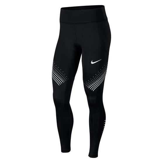Nike Womens Fast Graphic Running Tights Black XL, Black, rebel_hi-res