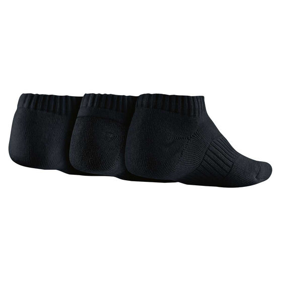 Nike Cotton Cushion 3 Pack Youth No Show Socks Black S, Black, rebel_hi-res
