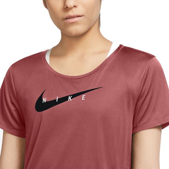 Nike Womens Swoosh Run Running Tee, Red, rebel_hi-res