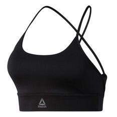 Reebok Womens Workout Ready Low Impact Padded Sports Bra Black XS, Black, rebel_hi-res