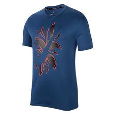 Nike Mens Fiesta Floral Running Tee Navy S, Navy, rebel_hi-res