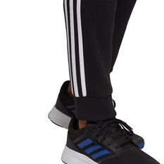 adidas Mens 3 Stripes Tapered Track Pants, Black, rebel_hi-res