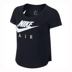 Nike Womens Air Mesh Running Tee Black XS, Black, rebel_hi-res