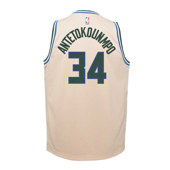 Nike Milwaukee Bucks Giannis Antetokounmpo 2019/20 Youth City Edition Jersey, Beige, rebel_hi-res