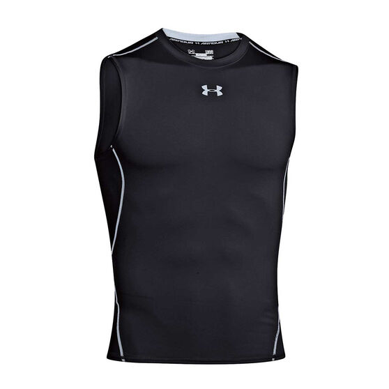 Under Armour HeatGear Armour Mens Sleeveless Compression Top, Black, rebel_hi-res