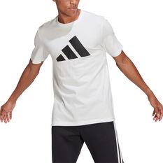 adidas Mens FI Badge of Sport Tee White S, White, rebel_hi-res
