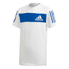 adidas Boys Sport ID Tee White / Blue 8, White / Blue, rebel_hi-res