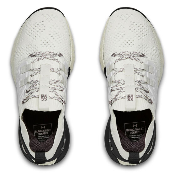 Under Armour Project Rock 3 Womens Training Shoes, White/Black, rebel_hi-res
