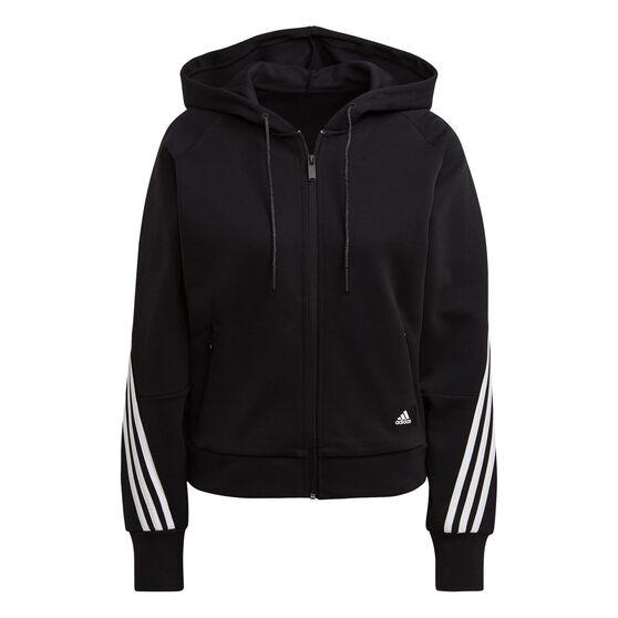 adidas Womens Fleece 3 Stripes Full Zip Hoodie, Black, rebel_hi-res