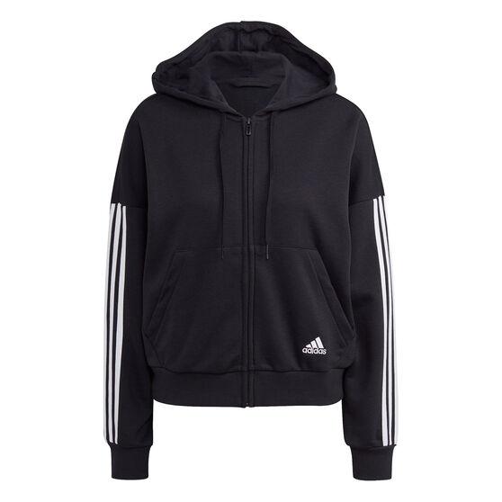 adidas Womens Full Zip 3 Stripes Fleece Hoodie, Black, rebel_hi-res