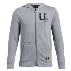 Under Armour Boys Rival Logo Full Zip Hoodie Grey / Black XS, Grey / Black, rebel_hi-res