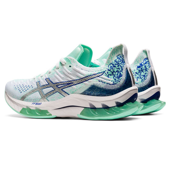 Asics Kinsei Blast Womens Running Shoes, White/Blue, rebel_hi-res