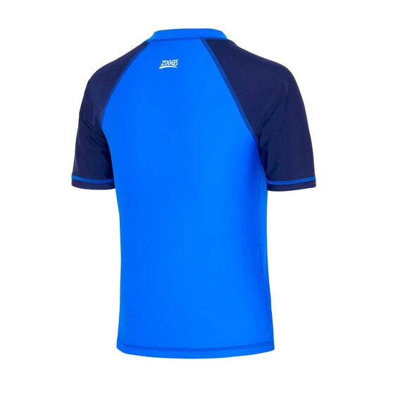 Zoggs Boys Short Sleeve Rash Vest, Blue / Navy, rebel_hi-res