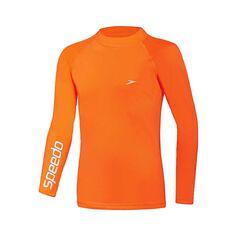 Speedo Boys Safety Long Sleeve Sun Top, Orange, rebel_hi-res