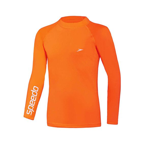 Speedo Boys Safety Long Sleeve Sun Top, Orange, rebel_hi-res