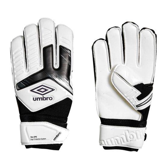 Umbro Neo Precision Digit Protection Kids Goalkeeping Gloves, White / Purple, rebel_hi-res