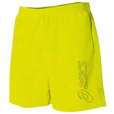 Asics Mens Essential Logo 5in Training Shorts Lime XS Adult, Lime, rebel_hi-res