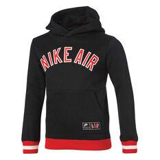 Nike Boys Air Fleece Pull Over Hoodie Black / Red 4, Black / Red, rebel_hi-res