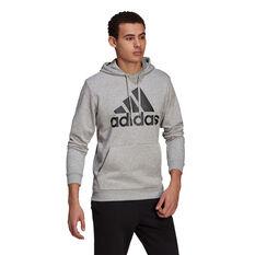 adidas Mens Volume Fleece Big Logo Hoodie, Grey, rebel_hi-res