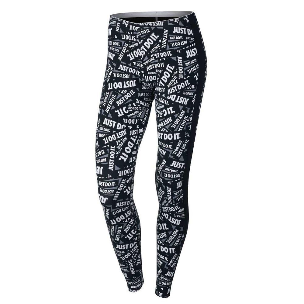 the latest 9139f d1dff Nike Womens Club Print Leggings White   Black XS, White   Black, rebel hi-