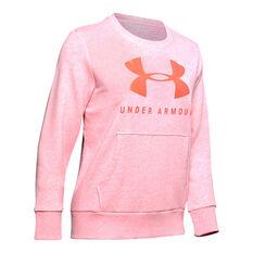 Under Armour Womens Favourite Fleece Sportstyle Graphic Sweatshirt Pink XS, Pink, rebel_hi-res