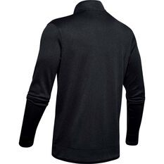 Under Armour Mens SweaterFleece 1/2 Zip Long Sleeve Top Black S, Black, rebel_hi-res