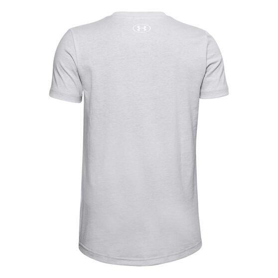 Under Armour Boys Sportstyle Logo Tee, Grey/White, rebel_hi-res