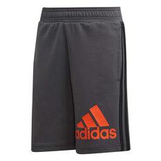 adidas Boys Must Haves Badge of Sport Shorts Grey / Orange 10, Grey / Orange, rebel_hi-res