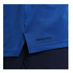 Nike Pro Mens Dri-FIT Short Sleeve Top Blue S, Blue, rebel_hi-res