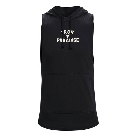 Under Armour Mens Project Rock Terry Sleeveless Hoodie, Black, rebel_hi-res