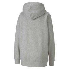 Puma Womens Essentials Plus Elongated Hoodie Grey XS, Grey, rebel_hi-res