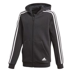 adidas Boys 3 Stripes Hoodie Black / White 6 Junior, Black / White, rebel_hi-res