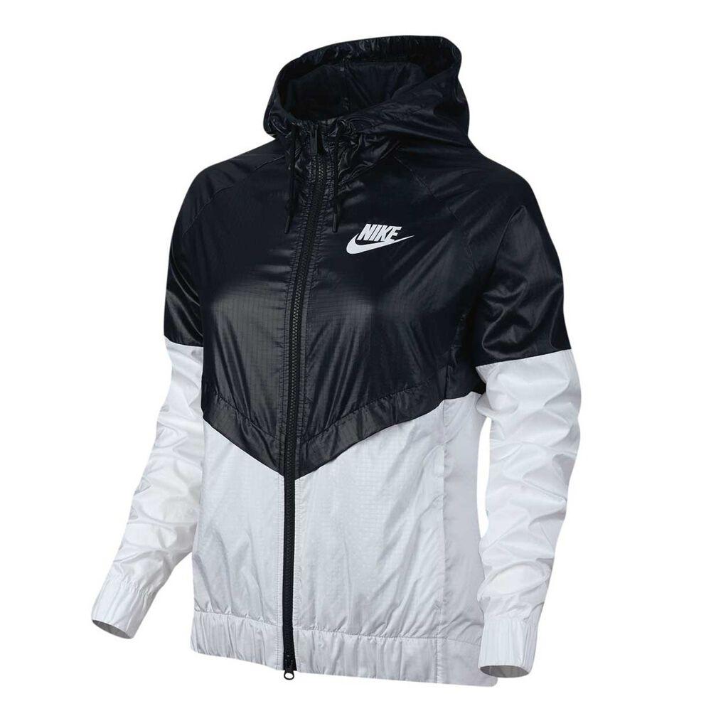 Nike Womens Sportswear Windrunner Jacket Black   White S Adult ... e9b5d0e1d